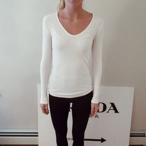 White Long Sleeve V-Neck